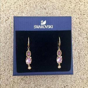 Authentic Swarovski Amethyst Drop Earrings